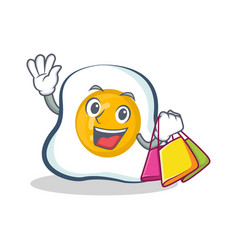 Shopping fried egg character cartoon vector