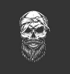 Skull with bandage mustache and beard vector