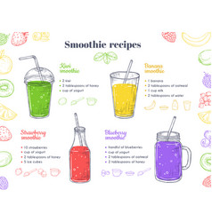Smoothie recipes green healthy shakes detox food vector