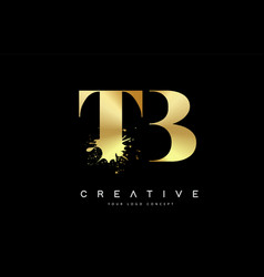Tb t b letter logo with gold melted metal splash vector