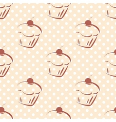 Tile pattern with cherry cupcakes and polka dots vector image