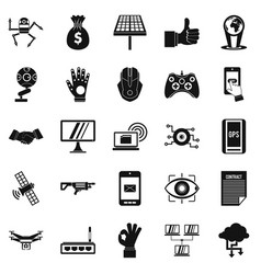 Tomorrow icons set simple style vector