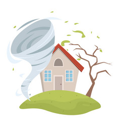 Tornado swirl damaging rustic house and tree storm vector