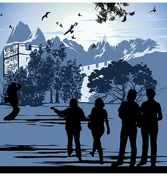 Tourists walk in the territory ancient fortress vector