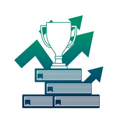 Trophy award cup in pile books with arrows up vector