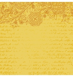 Vintage yellow grungy background with flowers and vector