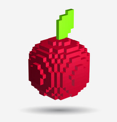 voxel red apple in pixel style on white background vector image