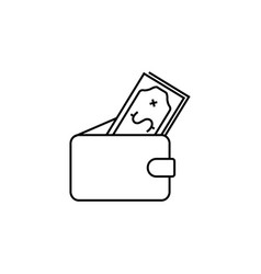 wallet with money icon black vector image
