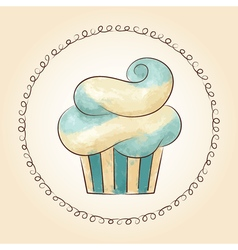 Watercolor waved cupcake vector