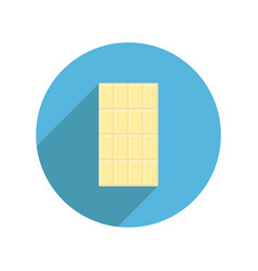 white chocolate bar round icon long shadow tasty vector image