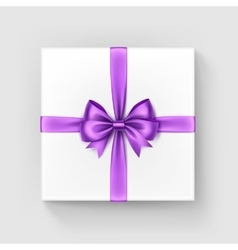 White Gift Box with Light Violet Bow and Ribbon vector image vector image
