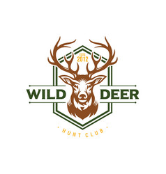 wild deer vintage logo badge vector image