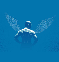 Winged angel with muscular strong body back view vector