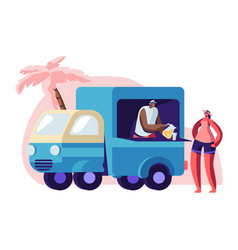 woman buying juice on city beach at lorry booth vector image