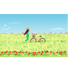woman in blue skirt wearing a hat with a bicycle vector image