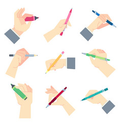 writing accessories in hands pen in businessman vector image