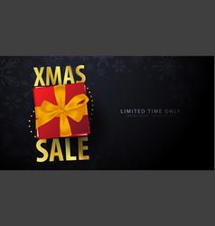 xmas sale banner on dark background vector image