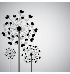 Black dandelion with hearts vector image