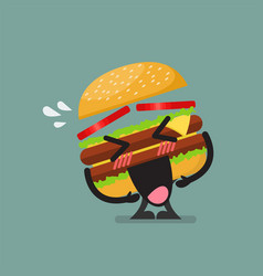 burger character laughing vector image