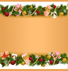 Christmas Border with Paper Scroll vector image