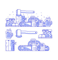 forestry and sawmill icon set vector image