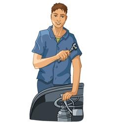 Mechanic repairs equipment vector image