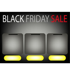 Three Square Label on Black Friday Sale Background vector image vector image