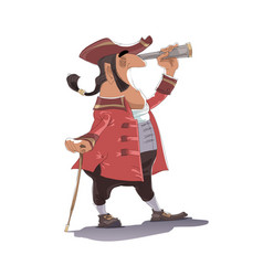 A pirate captain is looking through the spyglass vector