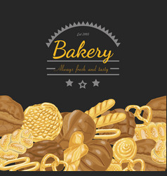 background with various bakery products vector image vector image