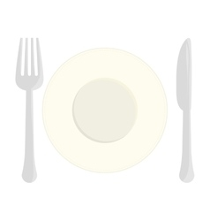 Gray fork knife and plate icon image vector image