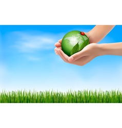 Green world and leaf have love bug in hands vector image vector image