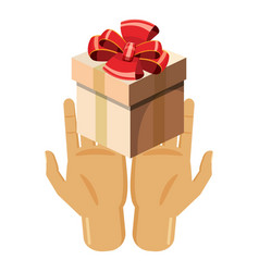 hands holding gift box with red bow icon vector image