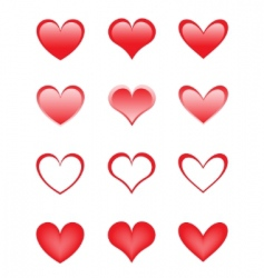 set of the beautiful hearts vector image vector image