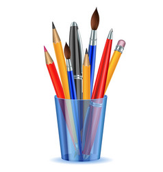 Brushes pencils and pens in the holder vector image