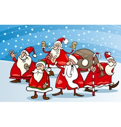 cartoon group of santa clauses vector image vector image