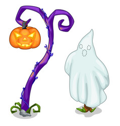 funny ghost and magical tree with carving pumpkin vector image vector image