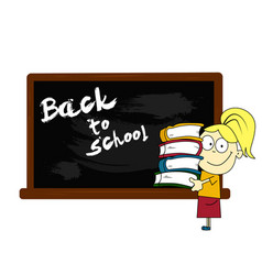 girl standing near the blackboard vector image