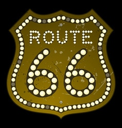 Illuminated Route 66 Sign vector image vector image