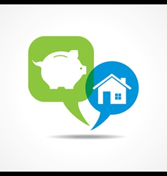 piggy bank and home in message bubble vector image