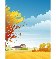 Rural autumn day vector image