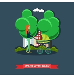 Walk with baby concept flat vector