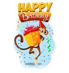 appy Birthday with monkey gift 2 vector image vector image
