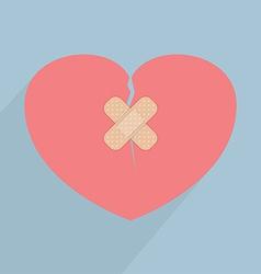 Broken heart with bandage vector image