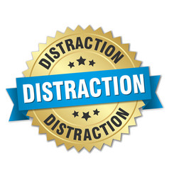 distraction round isolated gold badge vector image vector image