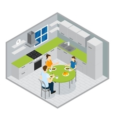 Family Meal Isometric Design vector image vector image