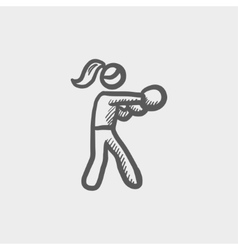 Female boxer sketch icon vector