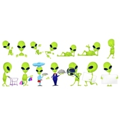 set of funny green aliens vector image vector image