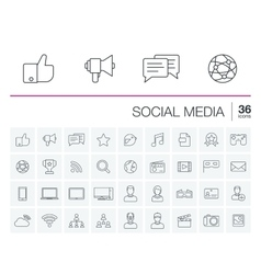Social media and network icons vector image vector image