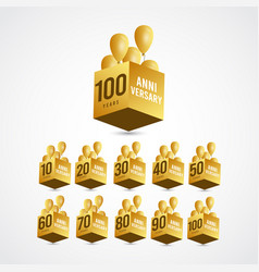 100 years anniversary celebration gold 3 d label vector