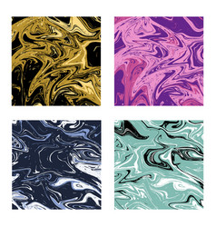 abstract liquid texture marble backgrounds set vector image